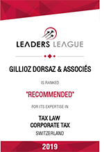 Leaders League – Gillioz Dorsaz & Associés – Recommended in: Tax Law, Corporate Tax
